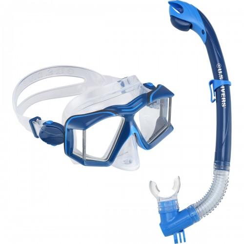 Комплект маска и трубка SIDEVIEW blue U.S. Divers